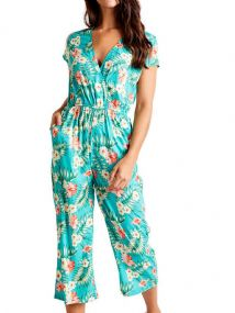 MELA LONDON TROPICAL AQUA CROP JUMPSUIT NEW SIZE 16